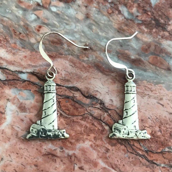 Lighthouse Lover Silver Plated Pewter Earrings