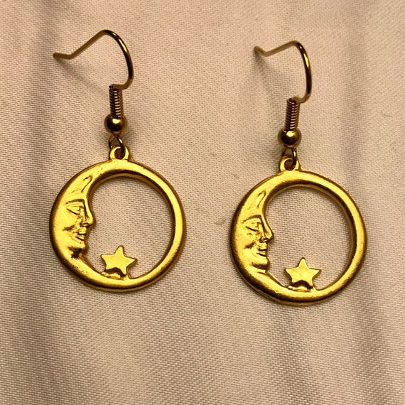 Golden Sun Moon Earrings