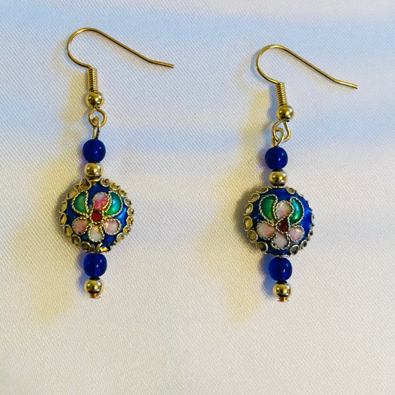 Cloisonné en Bleu Dangle Earrings