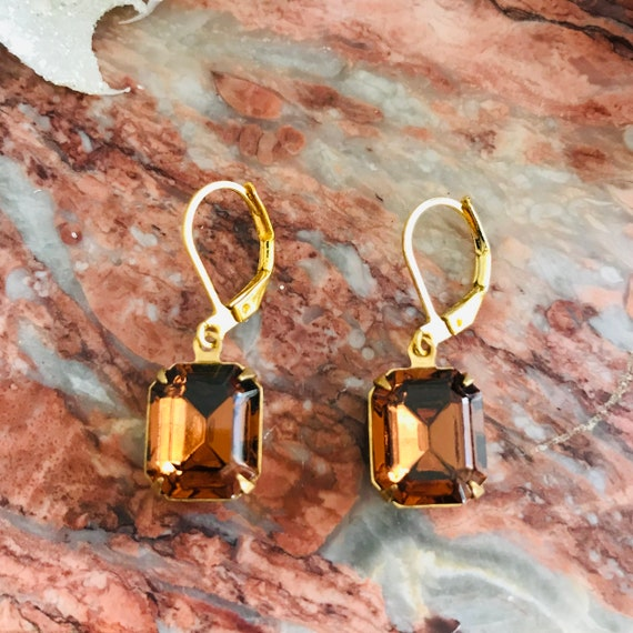 Dark Amber Octagon Faceted Glass Dangle Earrings