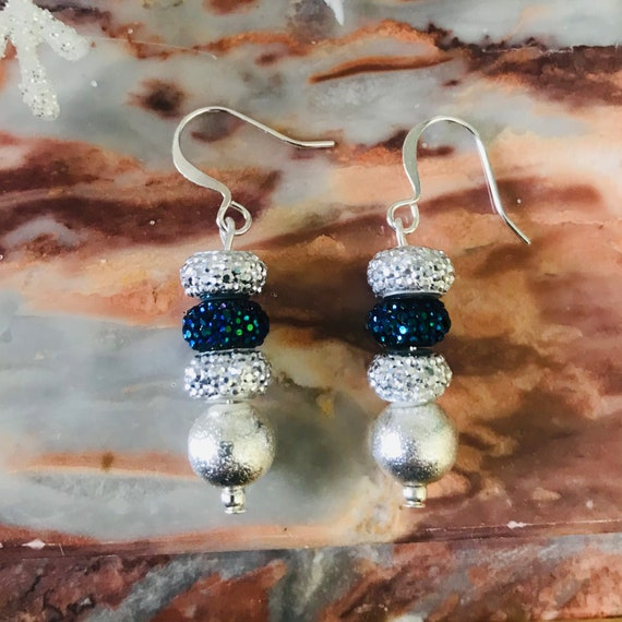 Holiday Silver and Blue Dangle Earrings