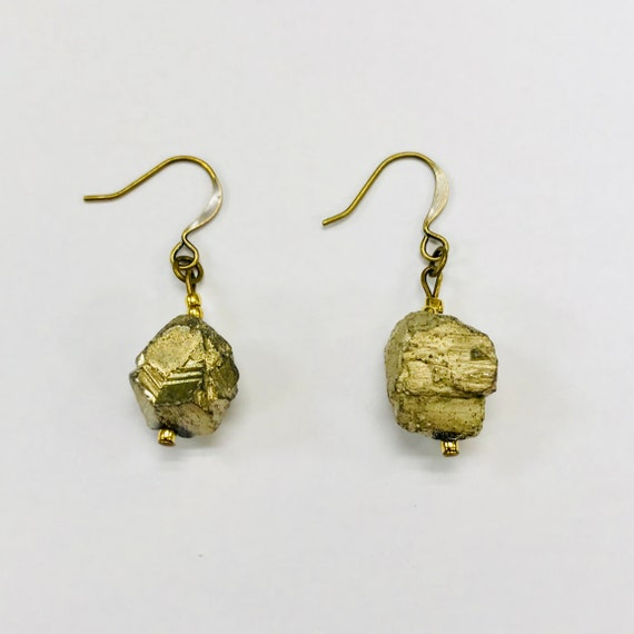 Gold Pyrite Dangle Earrings