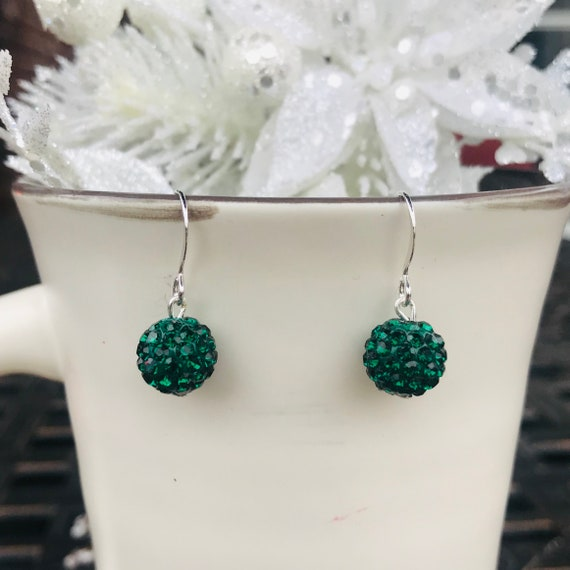 Green Pave Crystal Ball Holiday Dangle Earrings