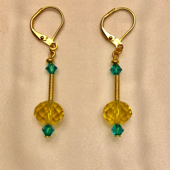 The Golden and Blue Swarovski Crystal Earrings