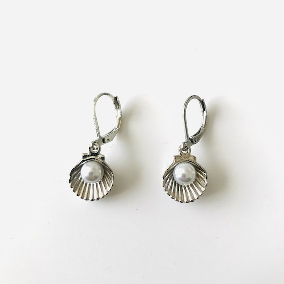 Silver Seashell and Pearl Dangle Earrings