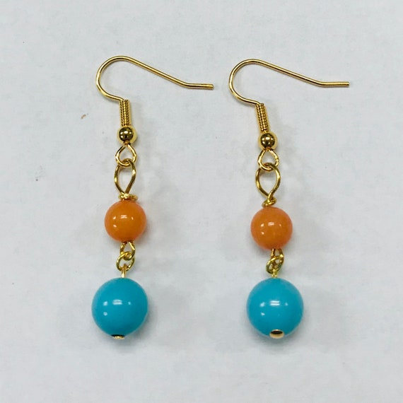 Mary's Magnesite and Coral Dangle Earrings