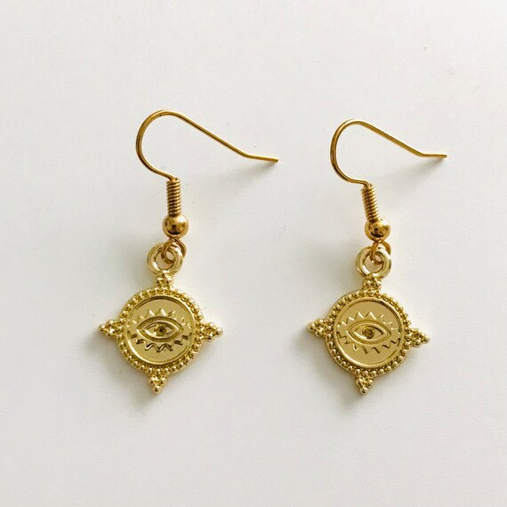 Etruscan Style Gold Evil Eye Dangle Earrings