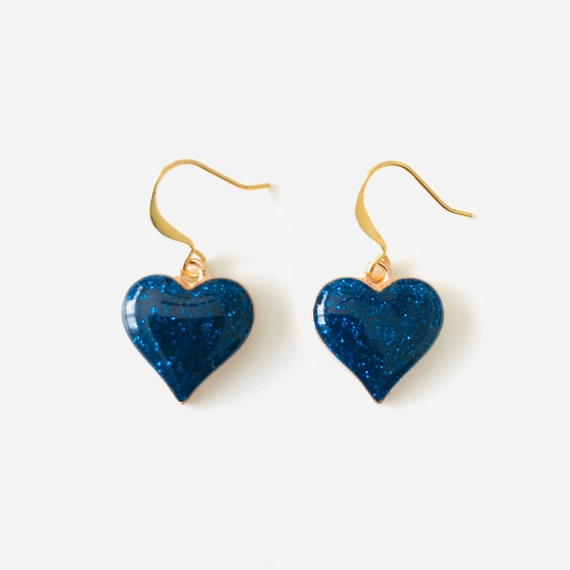 Blue Glitter Heart Dangle Earrings
