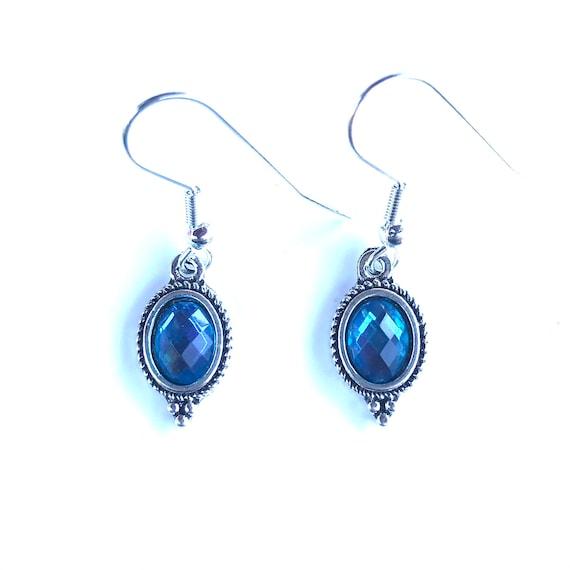 Faceted Blue Glass Bezel Set Antique Silver Dangle Earrings