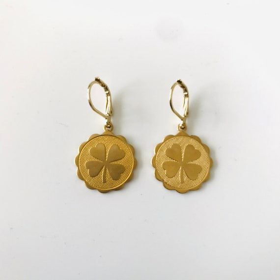 Irish Gold Shamrock Charm Earrings