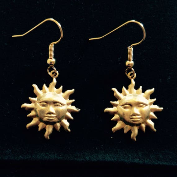 Sun Face Dangle Earrings