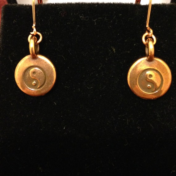 Yin and Yang Copper Earrings