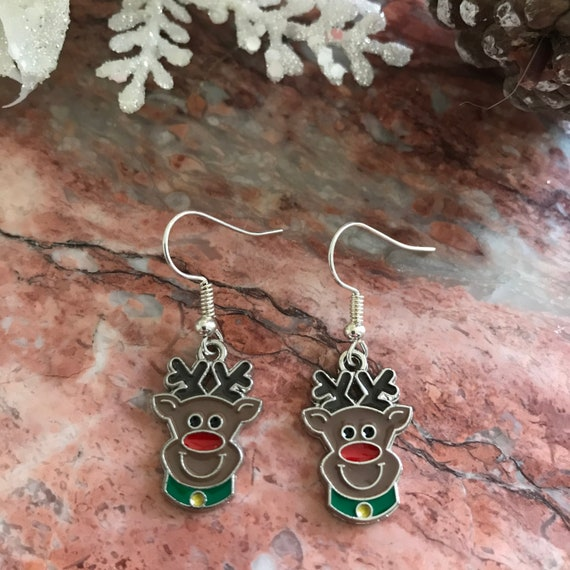 Christmas Red Nosed Reindeer Enamel Dangle Earrings