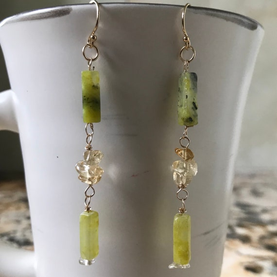 Citrine and Serpentine Glass Long Dangle Earrings