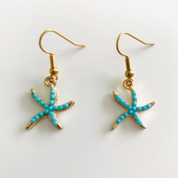 The Turquoise Blue Starfish Dangle Earrings