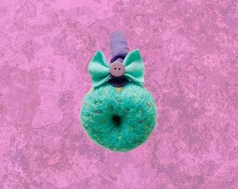 blue needle felted donut earmuffs (rainbow sprinkles)