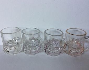 Lot of 4 Vintage Federal Glass Mug Shape Shot Glasses...tinted Shot Glasses...Vintage Bar