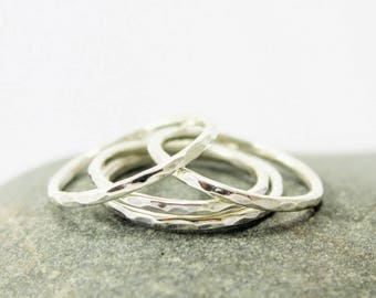 Thin Stacking Rings, Sterling Silver, Slim Stacking Rings, Hammered Rings, Stacking Ring Set,  Stacker, Stackable  Faceted, Minimalist Rings