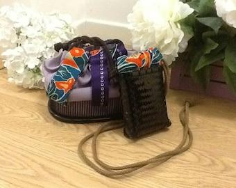 Original vintage Kinchaku Japanese bag handmade with silk kimono fabric
