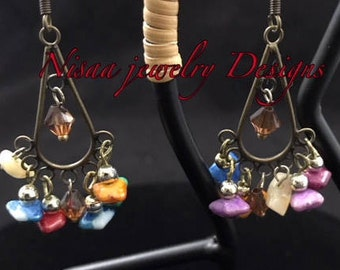 Unique Chandelier Earrings w/ Multi colored chip beads and swaroski crystal