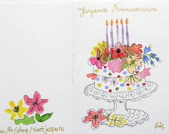 Hand-painted watercolor birthday card on paper grain towel A cake of flowers and candles