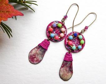 Under lights pink Baroque earrings