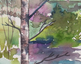Original watercolor The birch of the edge of the water