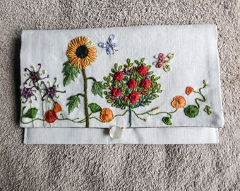 Sunflower and red pink hand embroidered linen semi-rigid linen pouch