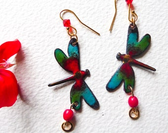 Dragonfly enamelled earrings on vermeil Green and red dragonflies