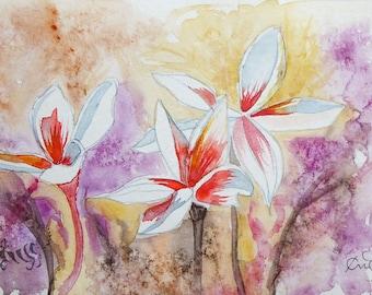 Original hand-painted watercolor Spontaneous Flowering