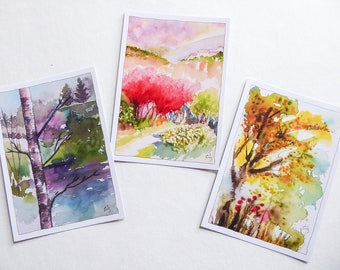 Postcards from my original watercolours Three trees red yellow and blue