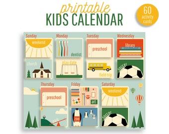 "Kids Weekly Calendar I Printable Kids Schedule I Visual Schedule I Toddler Calendar I Kids Activity Calendar I Instant Download I 8.5 x 11"""
