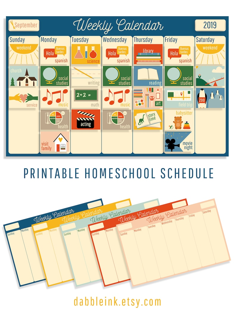 graphic regarding Visual Schedule Printable known as Homeschool Calendar I Visible Program I Weekly I Printable I Homeschool Planner I Homeschool Issue Playing cards I Children Weekly Routine