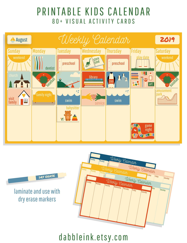 image about Printable Preschool Calendar identified as Children Calendar l Weekly Video game Plan I Little one Calendar I Weekly Program I Visible Timetable l Printable I Weekly Rhythms