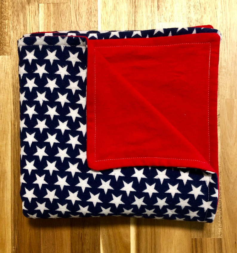 Extra Large Flannel Receiving Blanket and Blue Stars White Red