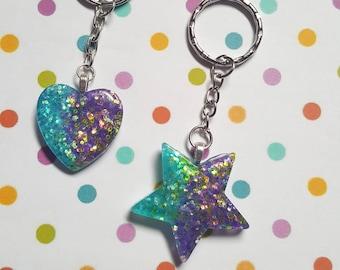 Star keyring, Heart keyring, Glitter keyring, Glitter bag charm, Heart, Star, Glitter, Purple, Blue