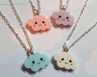 Cloud necklace, Happy cloud necklace, Kawaii cloud necklace, Pendant necklace, Cloud, Happy, Kawaii, Cute, Pastel goth, Happy face