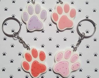 Glitter pawprint keyring, Pawprint keyring, Animal keyring, Pawprint pendant, Glitter, Animal, Pawprint, Animals, Animal lover gift