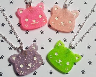 Handmade Holographic Purple with Moons Glitter Cat Necklace with Metal outline Great Gift for Cat Lovers