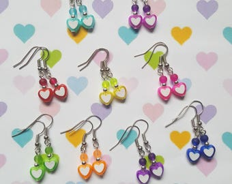 Heart earrings, Beaded heart earrings, Dangle earrings, Heart, Hearts, Love, Bright earrings, Fun earrings, Gifts for her, Gifts for girls