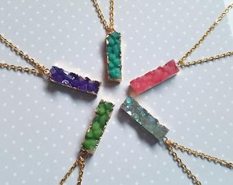 Druzy necklace, Resin druzy necklace, Druzy pendant, Pendant necklace, Druzy, Resin druzy, Faux druzy, Gold plated