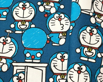 Doraemon Door Blue Licensed Cotton Fabric_Japan