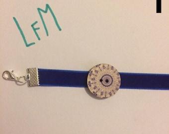 Wooden Button Choker (BLUE)