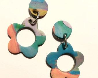 Multi-colored blossom earrings