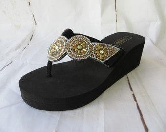 9647a608c8c0 CINDY Woman Sandal Rhinestone Silver Wedge Flip Flop Black EVA