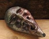 Raku Ceramic Mask wall hanging sculpture, OOAK