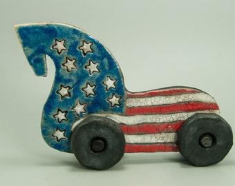 Raku Ceramic Horse Figurine, art sculpture, on wheels , OOAK