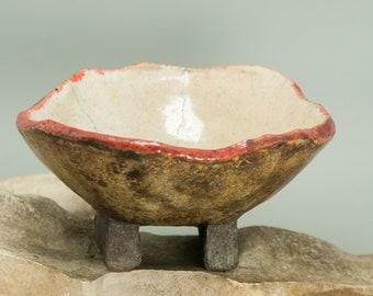 Raku Ceramic bowl, one of a kind, OOAK