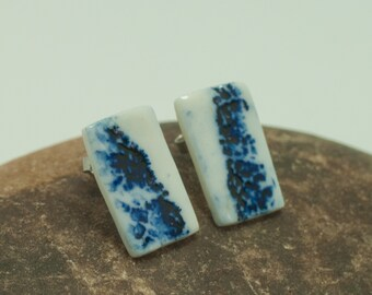 Blue Breath / Blue-and-White Porcelain, Asymmetric Handmade porcelain ear studs earrings