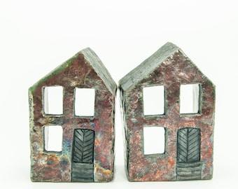 Raku Ceramic Rustic House, Tealight and Candle Holder, OOAK